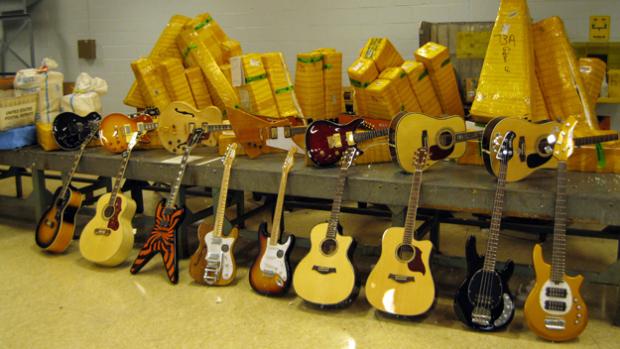 A sampling of seized, counterfeit guitars