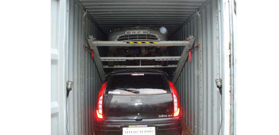 Car carrier shipping containers protect cars being shipped internationally.