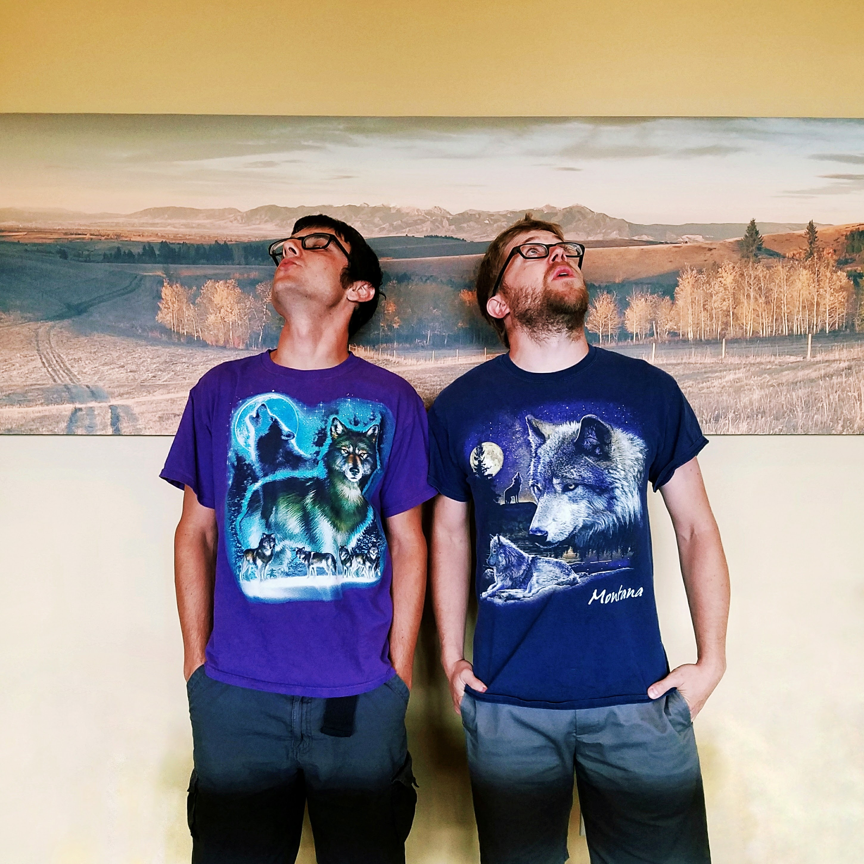 Two members of the TRG team embrace their wild side on wolf shirt Wednesday.