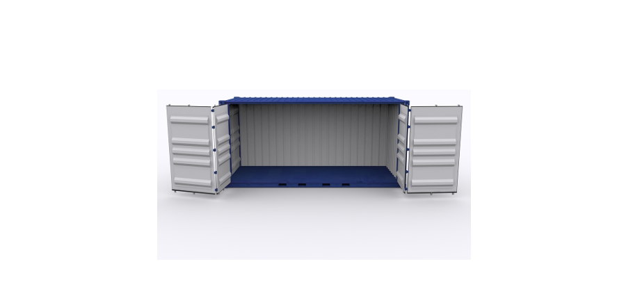 Side open shipping containers allow for easy access to goods.