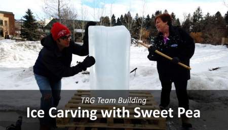 A team of employees from Trade Risk Guaranty participate in the Sweet Pea Festival's Ice Carving event in Bozeman, Montana.