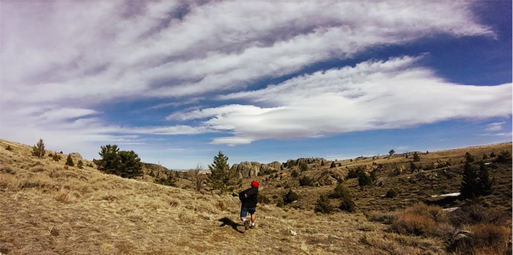 Johnny Certo plays Frisbee golf at Sward Ranch during TRG's company culture day, Montana esprit de corps.