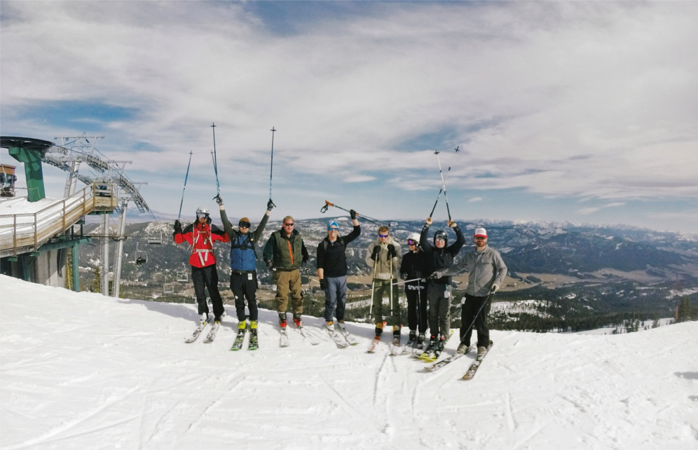 The Trade Risk Guaranty team pose for a picture during the company culture day spent skiing Bridger Bowl.