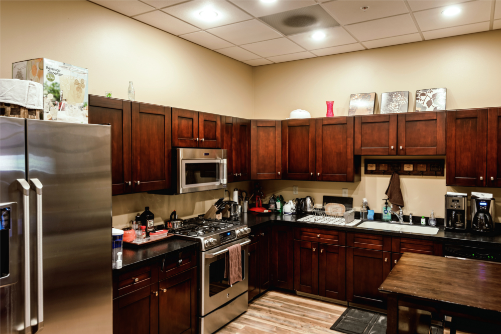The full kitchen available in Trade Risk Guaranty's office in Downtown Bozeman, Montana.
