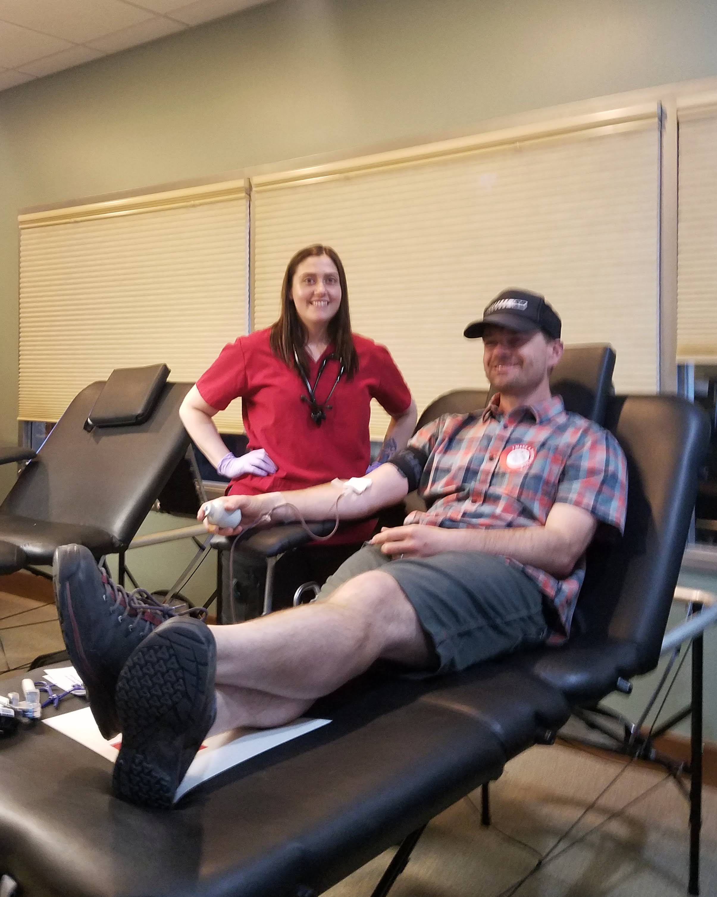 Travis Smith, TRG's National Sales Manager, donates blood with the Red Cross.