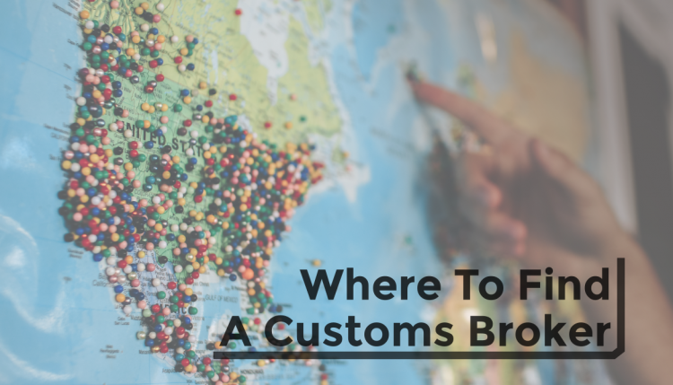 United States map with pins covering the map, a hand pointing at the map, and text that says 'where to find a customs broker'