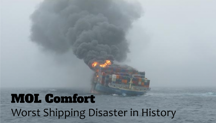 In 2013 the biggest shipping loss to date occurred on the MOL Comfort.