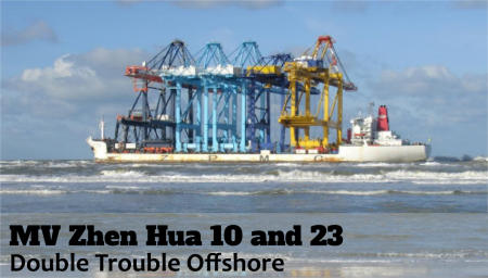 This shipping disaster includes two separate incidents which occurred right off shore within the period of a month on two of the M/V Zhen Hua vessels.