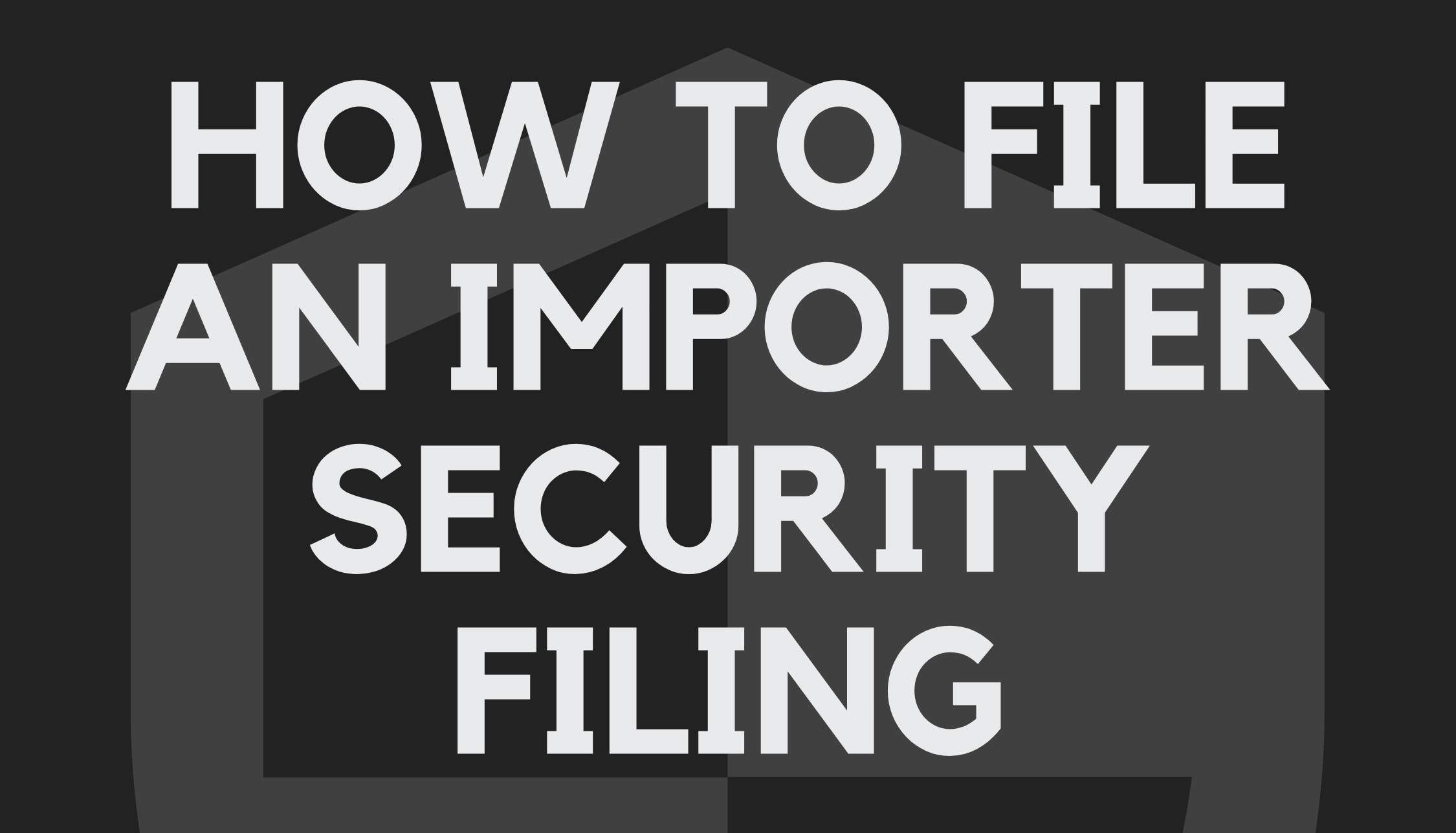 How to File an Importer Security Filing (ISF)